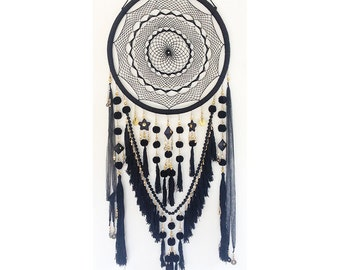 Extra Large Black and Gold Beads & Jewels Dreamcatcher - Excellent Nursery Decor