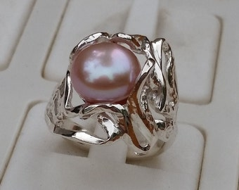 Pearl Silver Ring ,Pink Pearl Ring ,Sterling Silver 925 Ring ,Handmade Pearl Ring ,Bridal Pearl Ring ,Women Pink Pearl Ring ,Friendship Ring