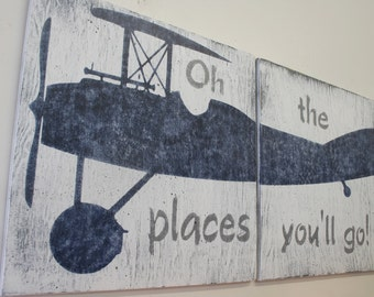 Oh The Places You'll Go Wood Sign Boys Nursery Wall Art Vintage Airplane Sign Gray And Navy Nursery Above Crib Decor Baby Gift
