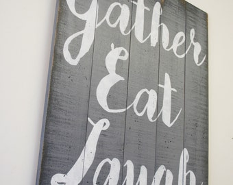 Eat Wall Decor gather eat laugh pallet sign dining room wall decor kitchen