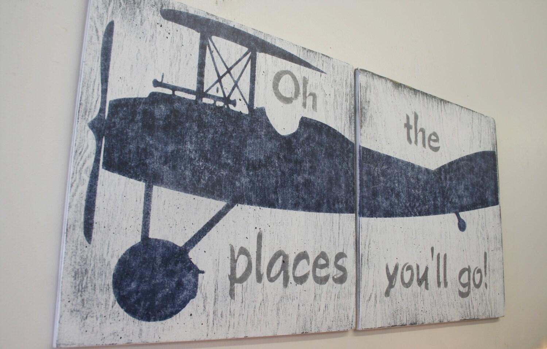 Oh The Places You Ll Go Wood Sign Boys Nursery Wall Art