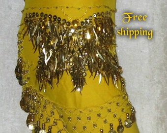 Belly dance, Belly dance hip scarf, Yellow hip scarf,Gypsy hip scarf,Yellow belly dancing hip scarf, Belly dance belt, Coin belt,Sequin belt