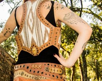 ETNIK leather vest // Handmade Tribal Clothing