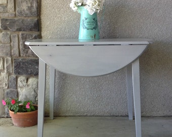 Vintage Drop Leaf Table / Shabby Chic / French Country / Farmhouse / Distressed / Chalk Painted