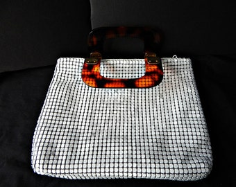 Delill White Mesh Handbag Tortoise Lucite Handle