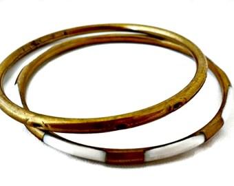 Brass and Enamel Bangle Bracelets Set of Two