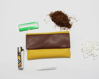 Yellow and Brown Vegan Leather Tobacco Pouch / Cigarette case made of vegan leather / Gift for him