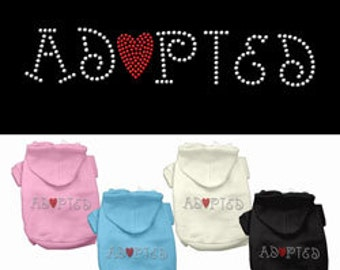 Adopted - Rhinestone Hoodies, Sweatshirt, Jacket for Dogs or Cats