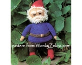 Vintage toy gnome knitting pattern Christmas gnome garden gnomes Knit Pattern PDF 582 from ToyPatternLand and WonkyZebra