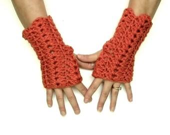 Pumpkin Orange Crochet Fingerless Gloves Wristwarmers Texting Gloves Boho Gloves