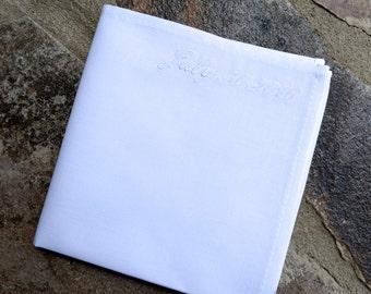 white handkerchief,white personalized pocket square,monogram pocket square,white cotton hankies,wedding date hanky,grooms handkerchief