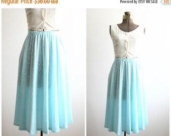 20% OFF polka dot skirt | high waisted skirt | semi sheer midi skirt | blue and white pleated skirt | knee length [ extra small xs ]