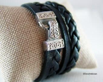 Lederarmband geflochten Wickelarmband schwarz silber Edelstahl -  Armband Leder Damen  Statement Schmuck - für sie  Leder - Geschenk für Sie