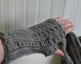 Pair of hand crocheted fingerless gloves  - medium gray