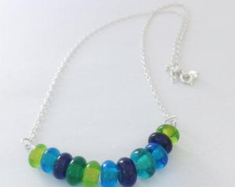 SALE Lampwork Glass Beaded Necklace - Sterling Silver Necklace