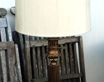 Mid Century Ornate Stiffel Brass Lamp with Original Shade in Plastic