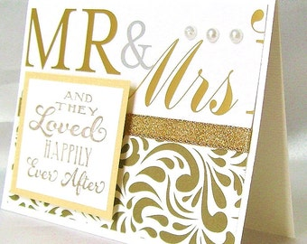 Elegant wedding card, Newly weds, Newlyweds, Mr and Mrs, Husband & wife, They loved happily ever after, Gold print, Swirls, White pearls