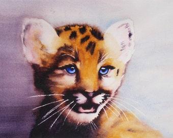 Leopard Cub - Original watercolor painting