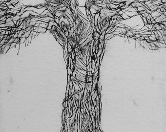 Original hand pulled Tree etching on copper plate