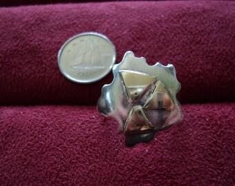 Wavy Flower 999 Fine Silver & 14K Gold 6g Vintage Ring (7.5)