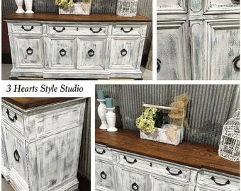 Distressed White Dresser Collection- Buffet, Media Console, Painted Furniture Denver and Colorado Springs, Refinished Furniture. Shabby Chic