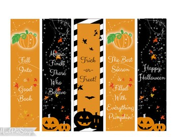 Printable Bookmarks - Halloween Party Favors - Fall Pumpkins