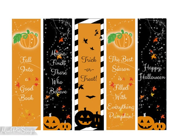 printable halloween bookmarks halloween party favors fall pumpkins magical black orange instant download - Halloween Book Marks