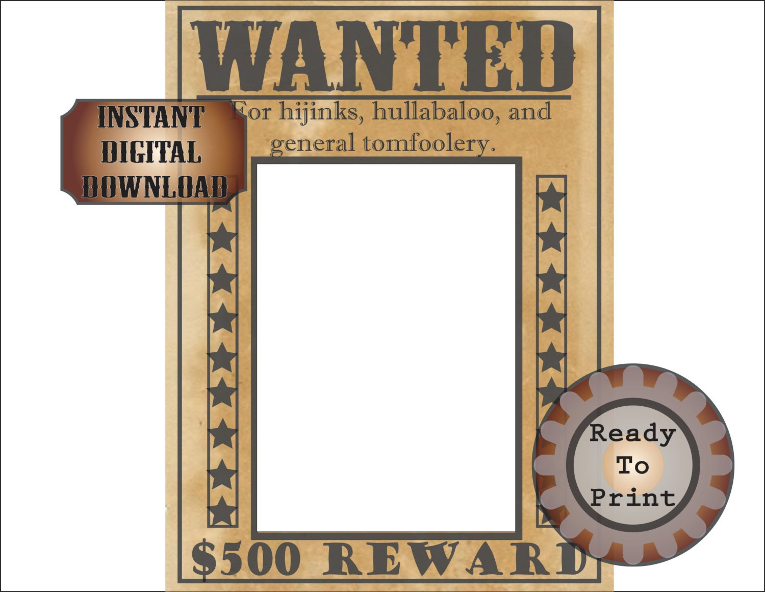 Wild west wanted poster selfie station by theglockycoggler on etsy