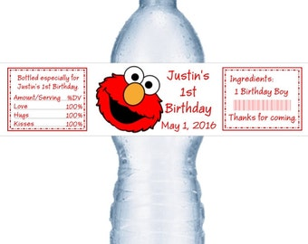 21 Elmo Birthday Party Personalized Water Bottle Labels