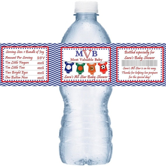 Personalized Sports Bottle Labels: 21 All Star Sport Themed Baby Shower Personalized Water Bottle