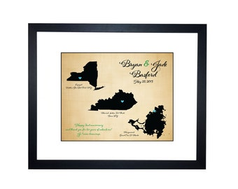 2nd anniversary cotton gift, cotton anniversary, Personalized Map Art, 2 states map, 3 states map, Gift for husband wife, long distance love