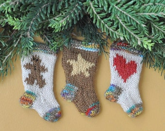 Gingerbread Man, Folk Star & Heart Hand-Knit Christmas Stockings Ornaments