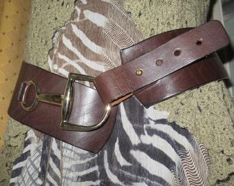 Women's Vintage Wide Brown Leather Hipster Belt , Label Brave Belts ,  Size Medium to Large