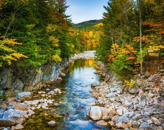 Autumn color & Swift River, Rocky Gorge, Kancamagus Highway, White Mountains New Hampshire. | Photo Print, Stretched Canvas, or Metal Print.