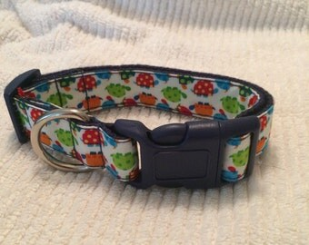 "Sz Medium - 1"" Width, 12-18"" Adjustable Dog Collar - A Hoot"