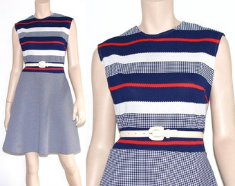 60s mod striped scooter dress - large or xl