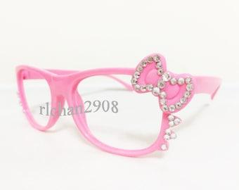 Bling Bling Rhinestone Lovely Bow Pink Eyeglasses Frame(PPPW36-3)
