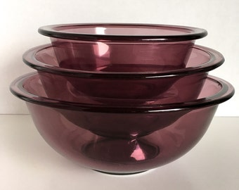 Pyrex Amethyst Purple Nesting Bowl Set 1980s