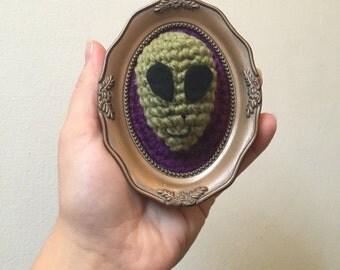 Miniature faux taxidermy framed alien ufo