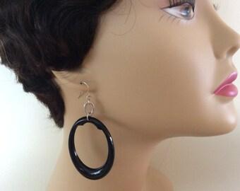 Vintage Long Black Pierced Dangle Earrings