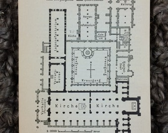 1910 Maulbronn Monastery Floor Plan [3.3 x 4.3 in.] Medieval Cistercian monastery, known for its Romanesque church & gothic cloisters