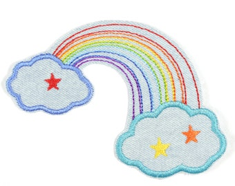 iron-on applique iron-on patches patch rainbow 8,5x13 cm/size inches 3.35 x 5.12