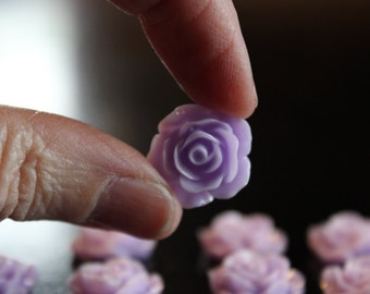 8 resin cabochons roses, 18 mm x 7 mm, 4 pairs roses, flat back, lavender roses