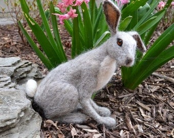 Light Grey Needle Felted Rabbit