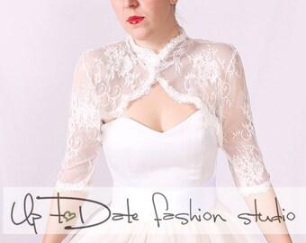 Wedding lace bolero/bridal  shrug / jacket /3/4  sleeve/ Lace Cover up