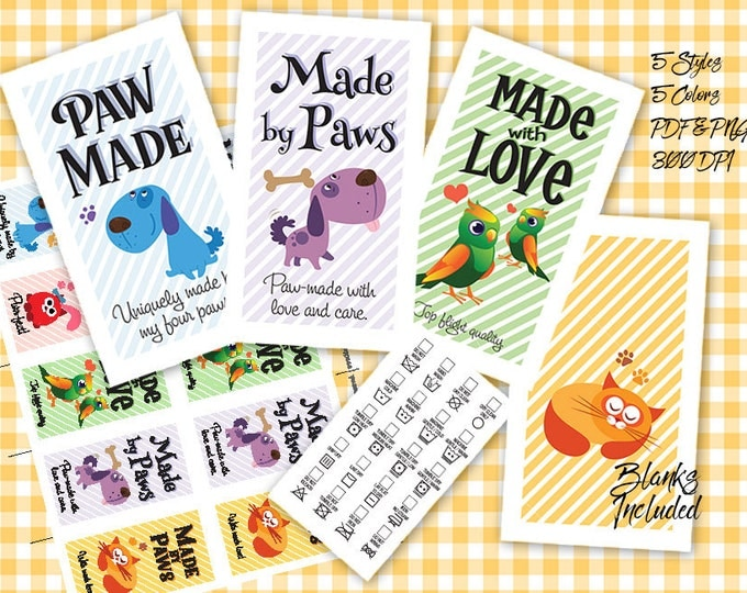 """Laundry Care Tags Printables- 300 DPI – 3-1/2"""" x 2"""" – Vector PDF and PNGs -Pets Theme Business Card Size"""