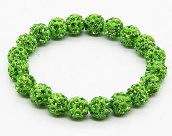 Shambhala Bracelet (20 balls) Lime  Green