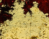 Flip Up - Reversible Sequin Fabric - Two Tone Fabric [Red/Gold] #9