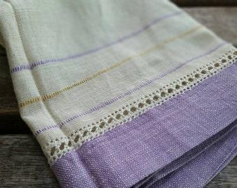 Vintage linen & lavender table runner or tea towel