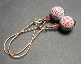 Red/Pale Blue Earrings - Copper Ear wires - Handmade Earrings - Long Drop